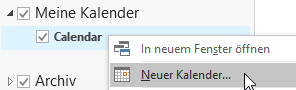 Outlook neuen Kalender anlegen