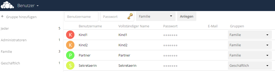 Owncloud Benutzer und Gruppen anlegen