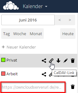 Owncloud Kalender URL kopieren